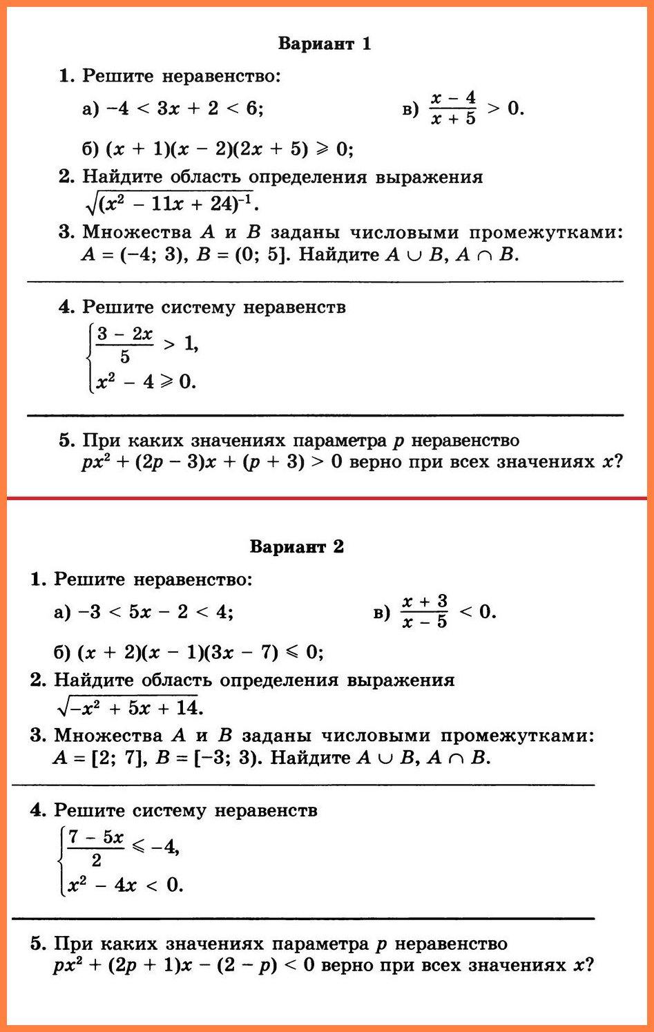 Алгебра Мордкович. Контрольная работа 1